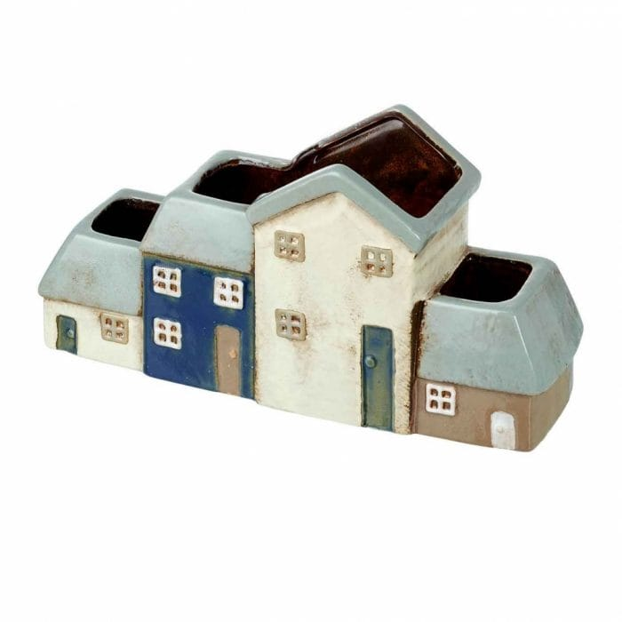 Parlane Mulberry Grey, White & Blue Four House Indoor Planter