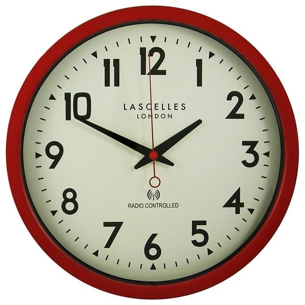 Roger Lascelles Radio Controlled Wall Clock Red 38cm