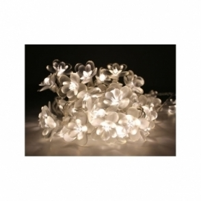 H&H... White Moon Flower LED String Lights / Fairy Light Chain Mains Operated