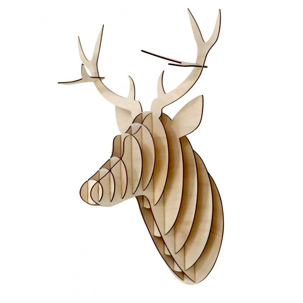 Deer trophy stag head 3d plywood wall mounted animal art sculpture deer trophy stag head 3d plywood wall mounted animal art sculpture large new ebay amipublicfo Image collections