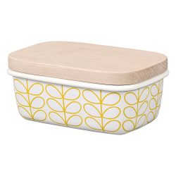 Orla Kiely Linear Stem Butter Dish Sunshine Yellow