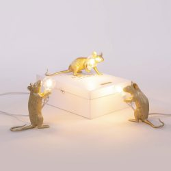 Seletti Gold Mouse Lamps