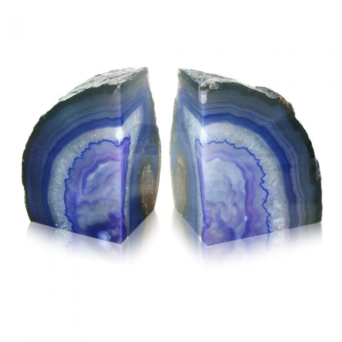 Hurn & Hurn Discoveries Agate Stone Bookends Purple