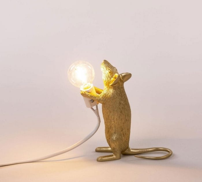 Seletti Gold Mouse Lamp Standing