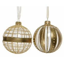 Set Of 6 Glitter Patterned Handmade Christmas Glass Baubles Gold