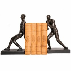 Hurn & Hurn Discoveries Bronze Strong Men Bookends Pair