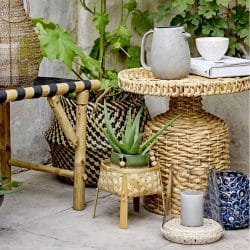 Bloomingville Natural Woven Water Hyacinth Camo Side Table