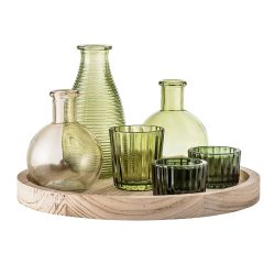 Bloomingville Assorted Green Glass Vessels On Paulownia Tray