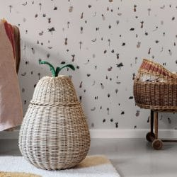 Ferm Living Pear Shaped Woven Storage Basket With Lid