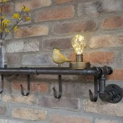 Hurn & Hurn Discoveries Industrial Pipe Metal Wall Mounted Shelf With 4 Hooks