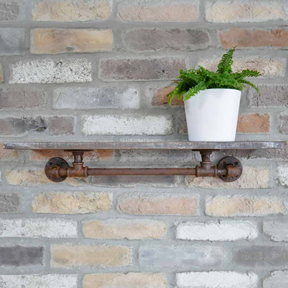 Hurn & Hurn Discoveries Industrial Wooden Shelf With Rusty Pipe Fitting