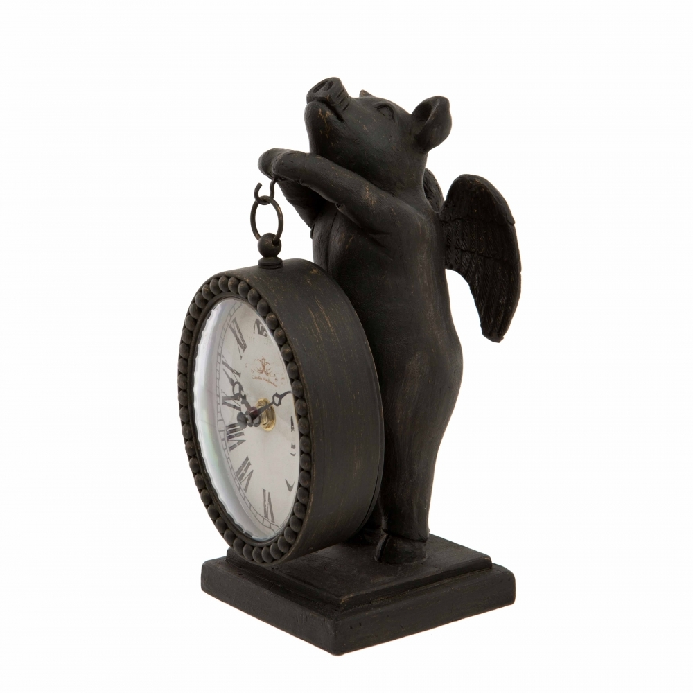 Hurn & Hurn Discoveries Decorative Flying Pig With Clock Ornament