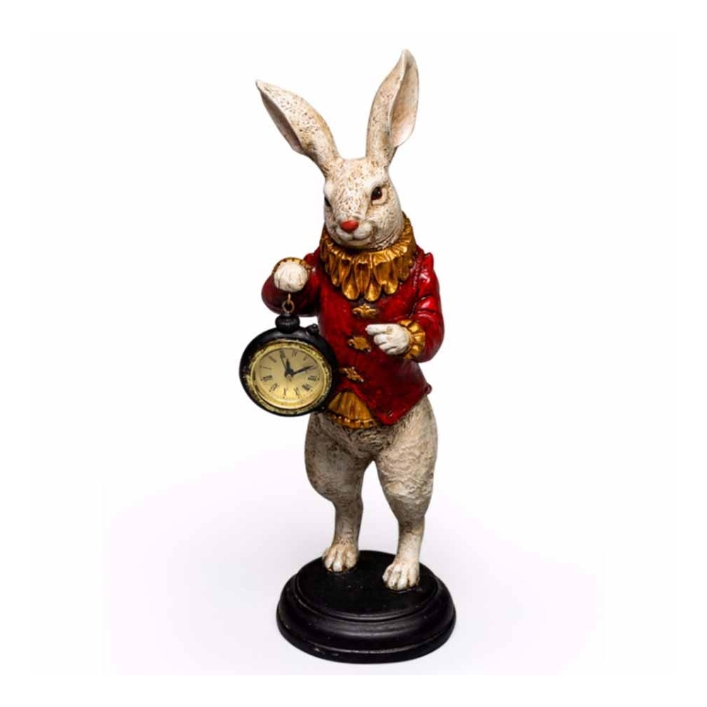 Hurn & Hurn Discoveries Decorative White Rabbit With Clock Ornament Red