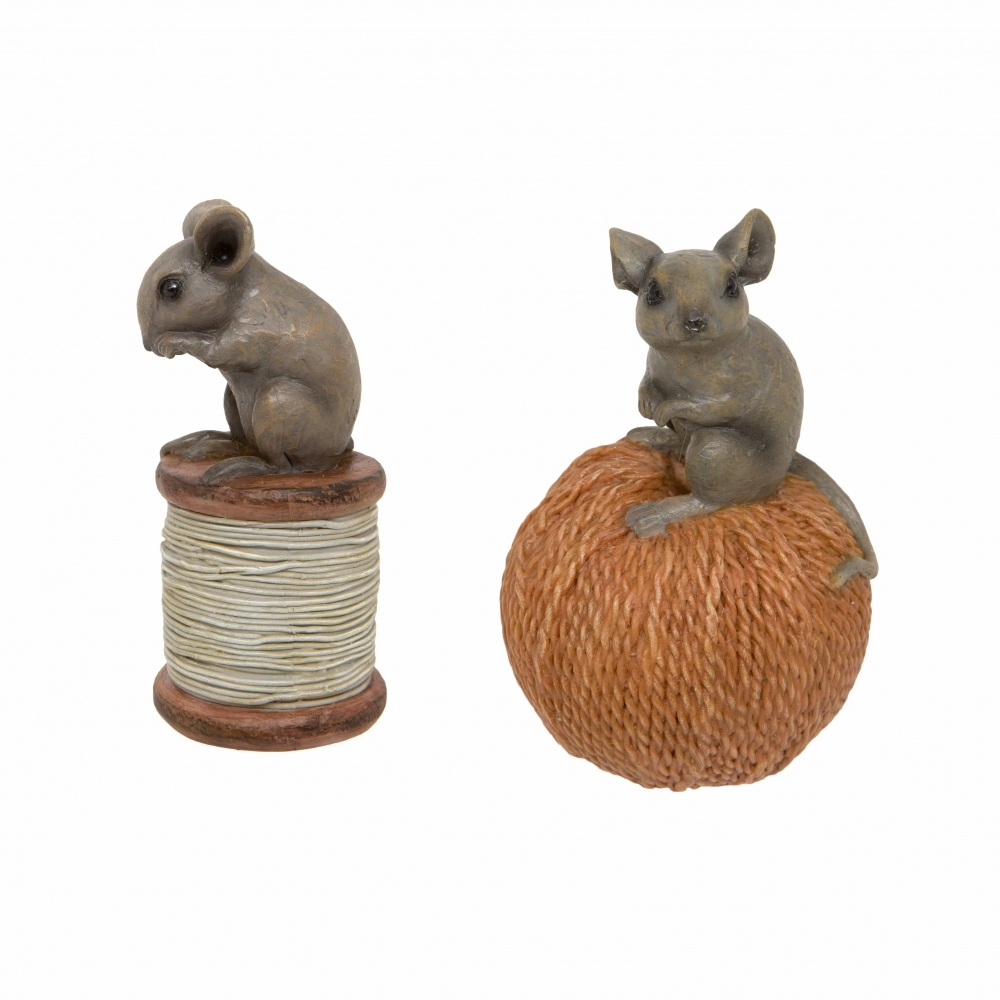 Hurn & Hurn Discoveries Mice On Cotton Reel & String Ornaments Set Of 2