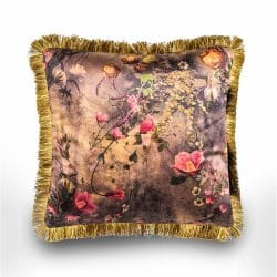 Hurn & Hurn Discoveries Luxury Floral Brown Velvet Cushion