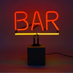 Hurn & Hurn Discoveries Bar Neon Table Lamp With Concrete Base - Red & Yellow