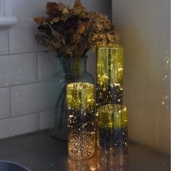 Gold glass cylinder lights
