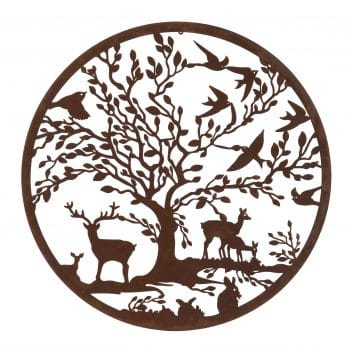 Hurn & Hurn Discoveries Large Wall Mounted Metal Disc With Woodland Scene