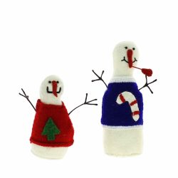 Fiona Walker England Set Of 2 Standing Snowmen Candy Cane & Tree Jumpers Christmas Felt Ornaments