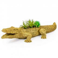 Large Natural Wicker Effect Crocodile Garden Planter