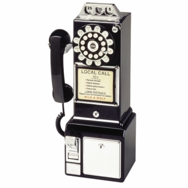 1950's American Diner Push Button Telephone Black Phone