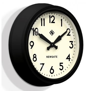 50's Electric Matte Black Wall Clock - White Dial