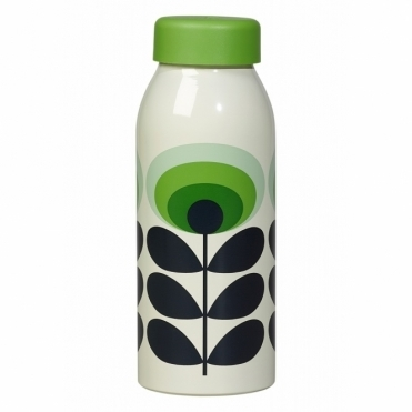 70s Flower Oval Insulated Bottle - Green