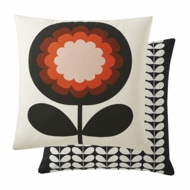 70s Frilly Flower Cushion - Persimmon