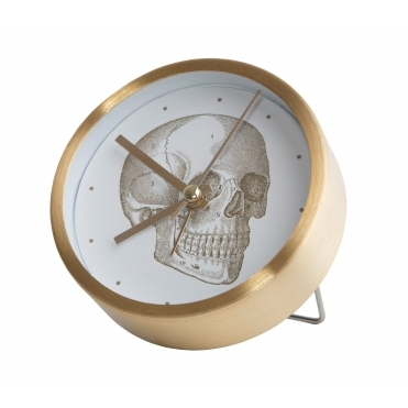 Alarm / Mantel Clock - Gold Skull