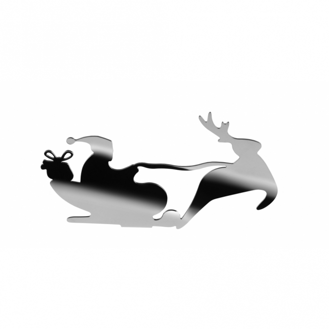 Alessi Barksled Santa & Sleigh Tealight Holder Ornament - Stainless Steel