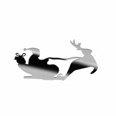 Barksled Santa & Sleigh Tealight Holder Ornament - Stainless Steel