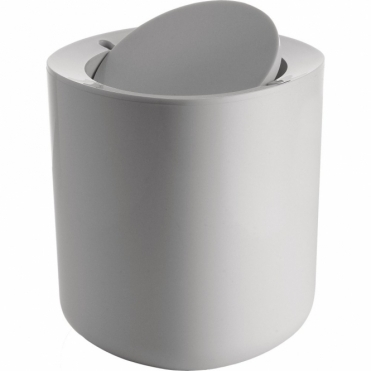 Birillo White Designer Compact Bathroom Waste Bin PL10 W