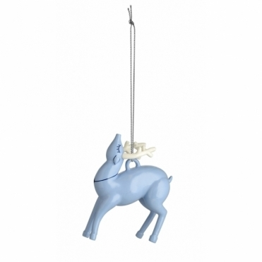 Blue Christmas Tree Ornament - Reindeer