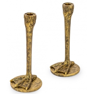 Antiqued Gold Duck Feet Candlesticks - Pair