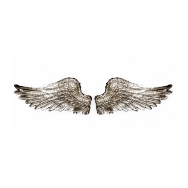 Antiqued Silver Angel Wings Wall Decor - Pair