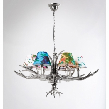 Antler 6 Branched Chandelier Pendant Lamp with Flower Shades