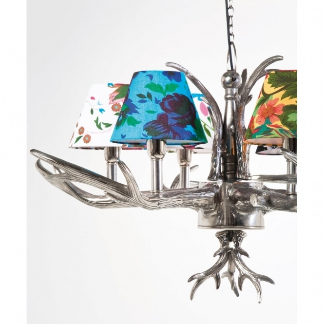 Antler 6 branched chandelier pendant lamp with flower shades aloadofball Images