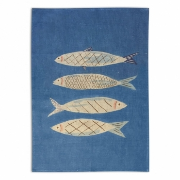 Sardines Tea Towel by Danielle Kroll