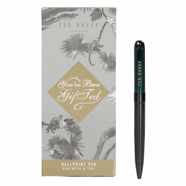 Ballpoint Pen in Gift Box - Gun Metal & Teal