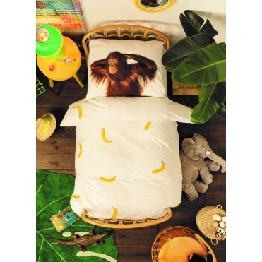 Banana Monkey Single Duvet Cover & Pillowcase Set