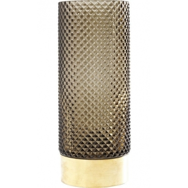 Barfly Textured Tall Vase - Green with Gold Base