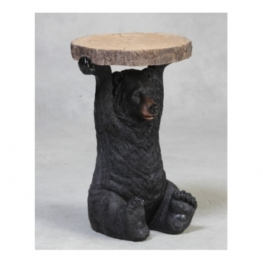 Bear Holding Tree Trunk Slice - Side Table