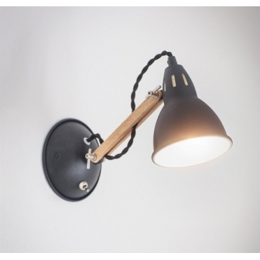 Bermondsey Wall Light - Oak & Carbon