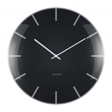 Black Glass Dome Wall Clock