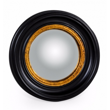 Black & Gold Convex Fish Eye Wall Mirror Small