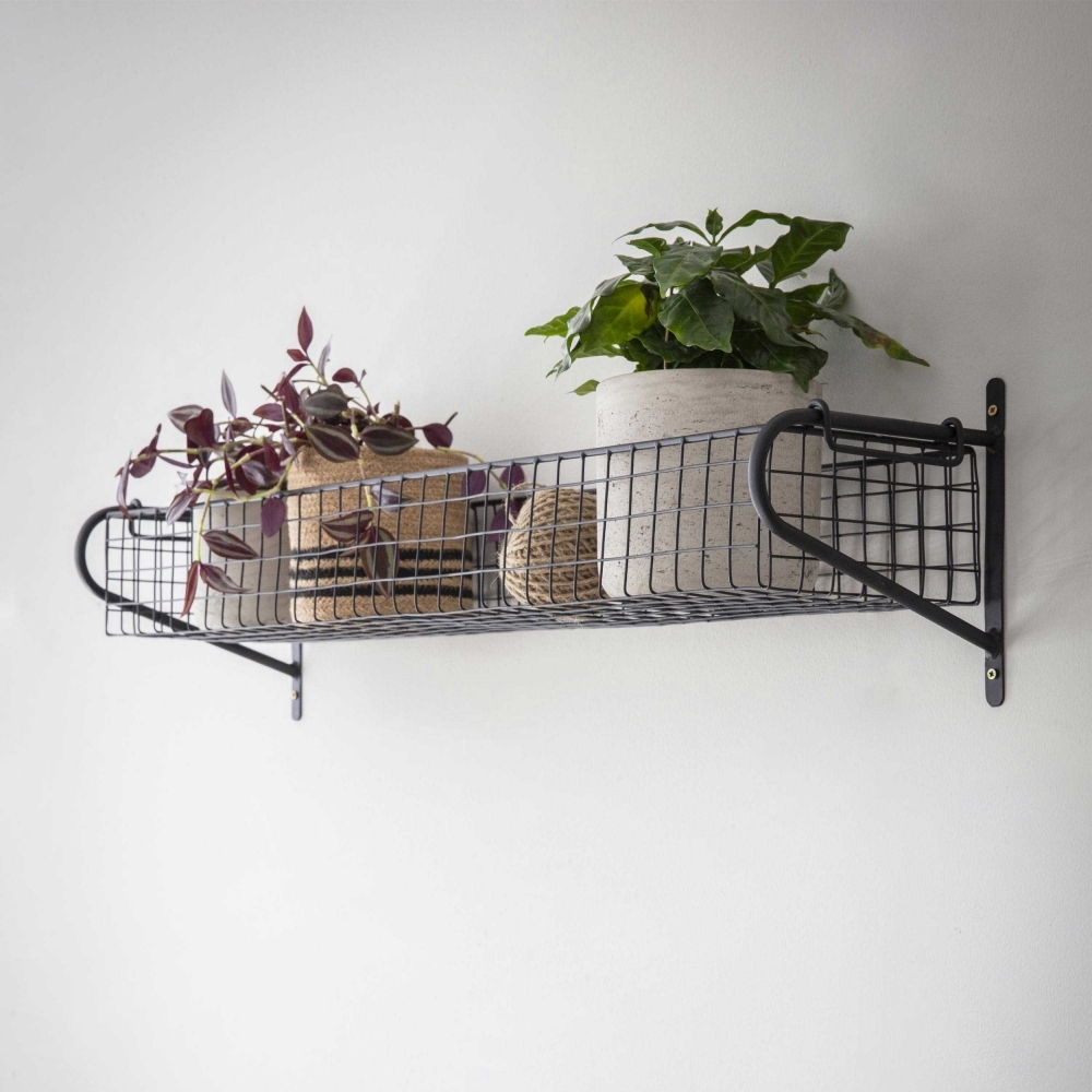 Black Wall Mounted Wire Storage Basket Large