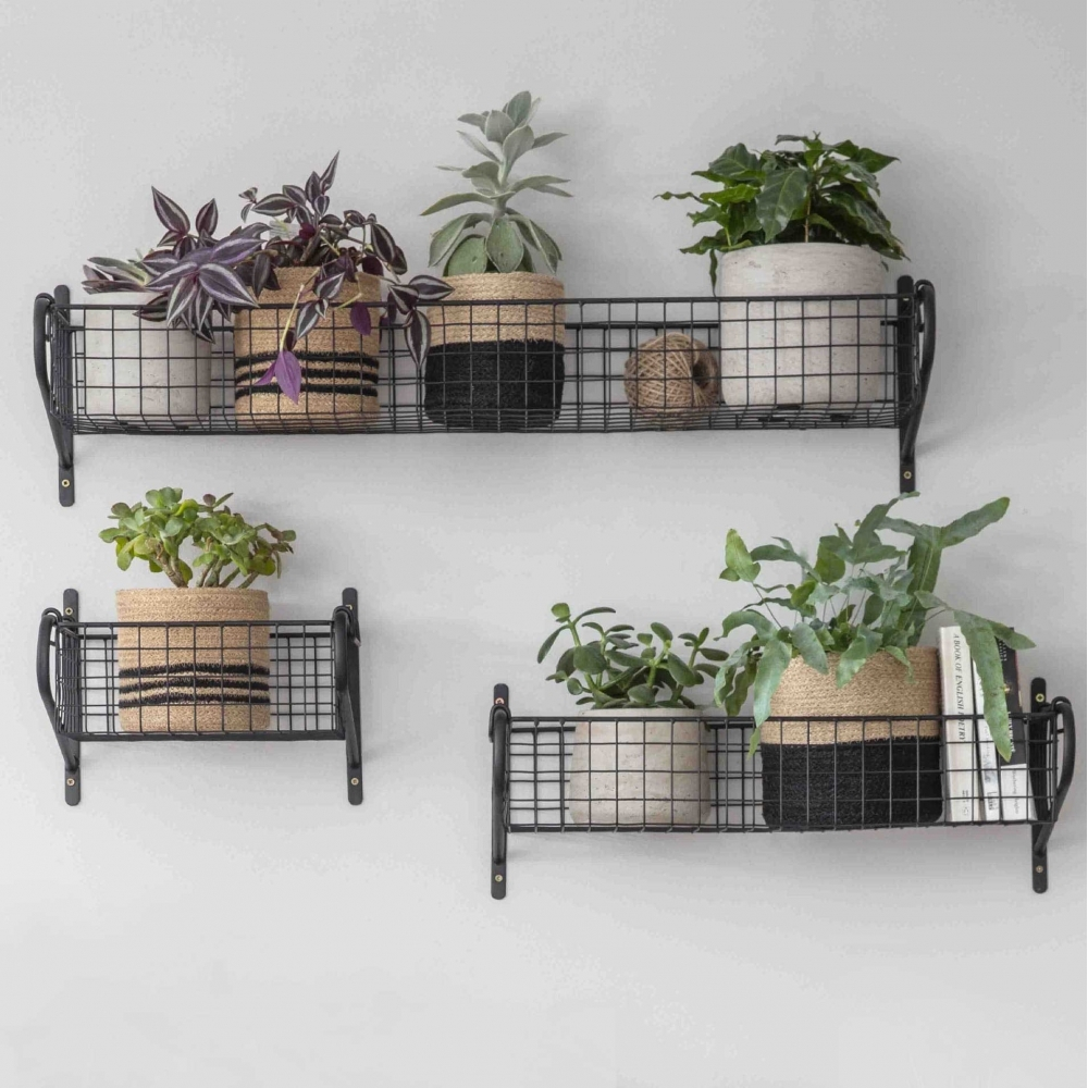 Black Wall Mounted Wire Storage Basket Small
