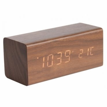 Block LED Alarm Clock with Date & Temperature - Dark Wood