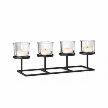 Nero Tealight / Candle Holder - Holds 4 Candles in a Row