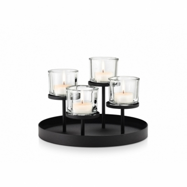 Nero Tealight / Candle Holder Round - Holds 4 Candles